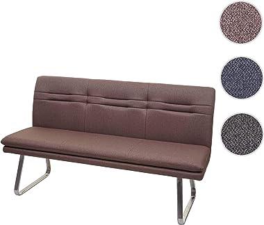 Mendler HWC-H70 Banc de salle à manger avec dossier en tissu et textile en acier inoxydable brossé Marron 160 cm