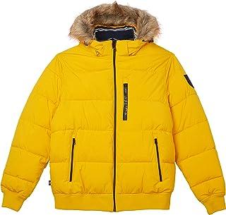 Nautica Men's Puffy Bomber with Fur Hood Jacket