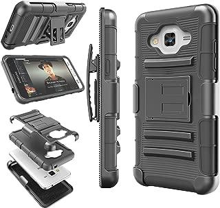 Galaxy Sky Case, J3 / J3 V Case, Galaxy Sol Case, Tekcoo [Hoplite Series] [Black] Shock Absorbing Holster Locking Belt Clip Defender Heavy Kickstand Cover for Samsung Galaxy Amp Prime/Express Prime