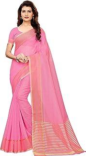 GoSriKi Cotton with Blouse Piece Saree (Club-Pink IND Free Size)