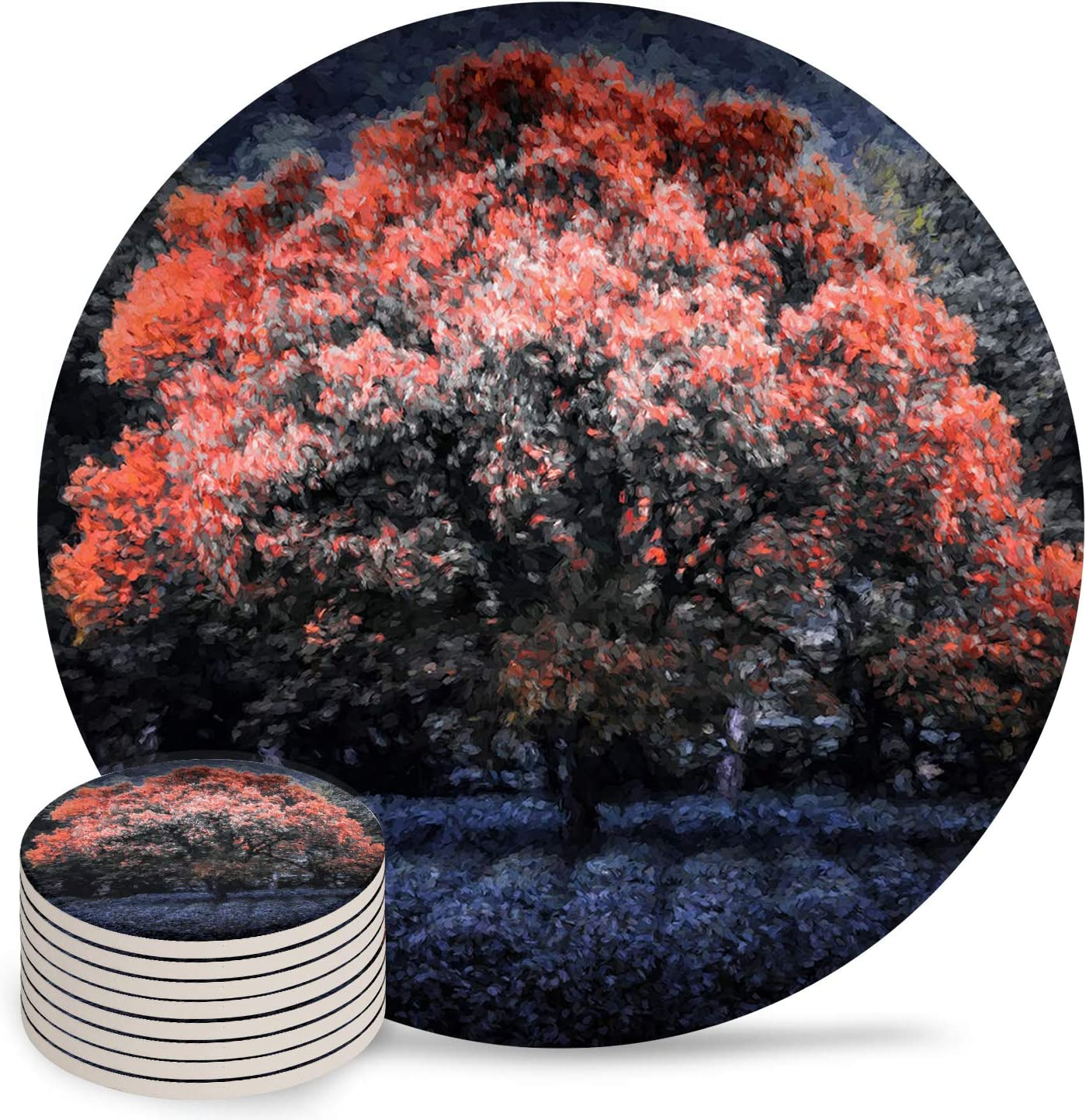 Absorbent Coasters Ceramic Cups Place with Soldering Trees Leaves Red 4 years warranty Mats