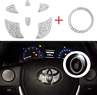 Vichona Bling Steering Wheel Stickers Rhinestones Car Accessories Fashion Car Interior Accessories Compatible with Toyota Accessories Markx Camry Highlander Corolla Rav4 Avalon 2015-2020