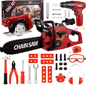 Awefrank Kids Tool Set 36Pcs Electric Toy Chainsaw and Drill, Realistic Kids Power Pretend Play Construction Toy Tools Set Toy for Toddlers Boys Girls Ages 3, 4, 5, 6, 7 Years Old