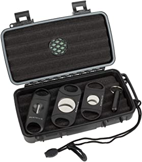 Mantello Portable Travel Cigar Humidor Case - Gift Set for Men - Fits 5 Cigars with 2 Ring Cigar Cutter, 1 V-Cut Cutter an...
