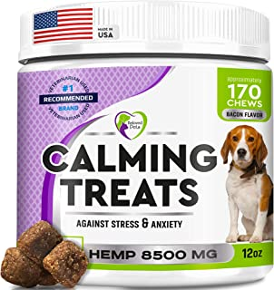 Advanced Calming Treats for Dogs - Calm Behavior Bites with Organic Hemp Oil + Valerian - Stress & Anxiety Relief - Storms, Fireworks, Separation, Barking Aid - Made in USA - 170 Soft Chews