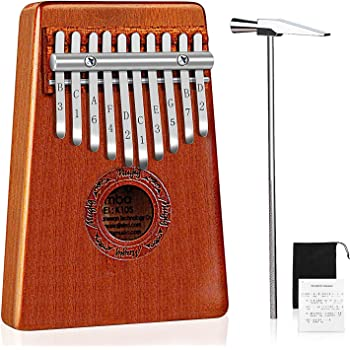 10 Keys Kalimba, Mugig Thumb Piano with Tuning kit Hammer, Cloth Bag and Study Instruction, Perect for Beginner or Children, Easy to Play, Perfect Gift - Carbon Steel/Mahogany