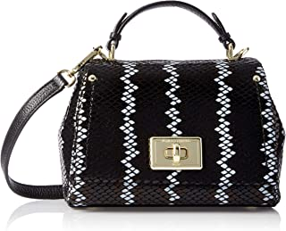 Lucien Small Top Handle Crossbody, Black/White Snake