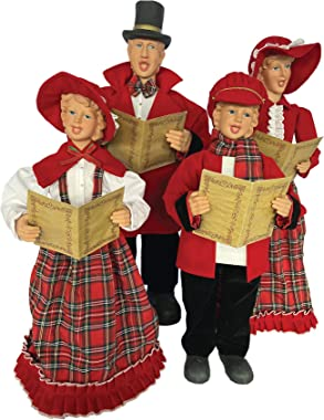 "Santa's Workshop 37""-27"" RED Plaid CAROELRS,Set of 4 Caroler"