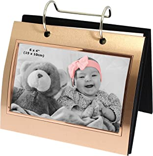 Shudehill Photo Frame Rose Gold Colour Free Standing Flip Album Holds 50 of 6 x 4 inch Photos