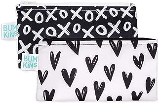 Bumkins Snack Bags, Reusable, Washable, Food Safe, BPA Free, 2 Pack - XOXO & Hearts