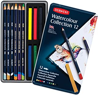 Derwent Colored Pencils, Watercolor, Water Color Pencils, Drawing, Art, Metal Tin, 12 Count (0700303),Blue