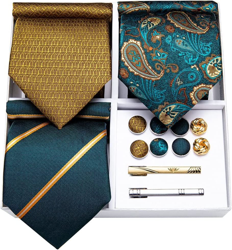LQGSYT Fashion Teal Green Gold Striped 3pack Men's Ties Silk Business Wedding Tie Hanky Cufflinks Set Men's Gift (Color : Teal Green Gold Striped, Size : One Size)