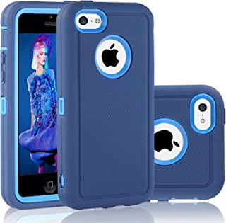 FOGEEK iPhone 5C Case, Dual Layer Anti Slip 360 Full Body Cover Case PC and TPU Shockproof Protective Compatible for Apple iPhone 5C ONLY (Dark Blue)
