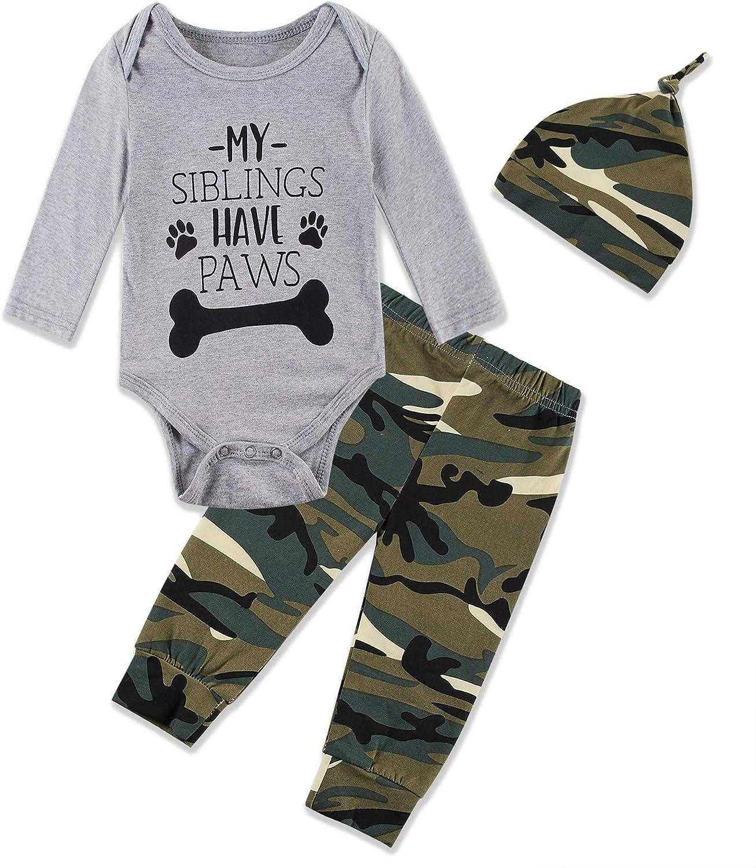 Newborn Baby Boy 3PCS Outfit Set Letter Printed Long Sleeve Bodysuit Clothes+Long Pants+Hat 0-12M