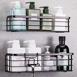 LUXEAR シャワーキャディ フック付 2パック 防錆 再利用可能 粘着 壁 シャワー 棚 ラック バスケット ストレージ オーガナイザー バスルーム キッチン - 接着剤なし