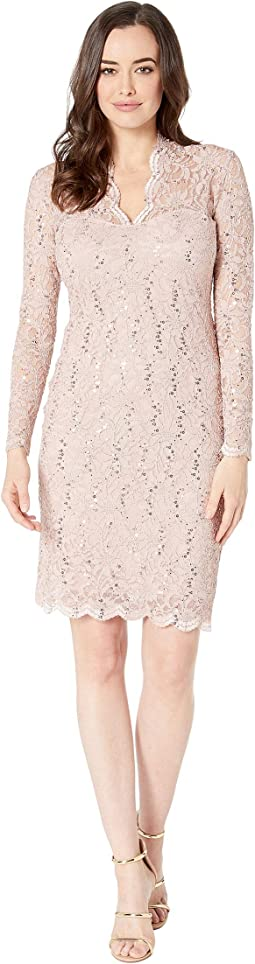 Long Sleeve Scalloped Stretch Lace Short Dress