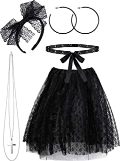5 Pieces 80s costume Sets, Women's 80s Lace Pop Star Halloween Accessories Set, Lace Tutu Skirt Outfits for Retro Party