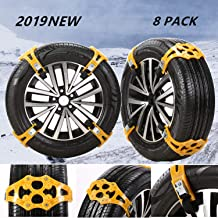 "EVTIME Tire Chains Snow Chains for Cars/SUV/Truck/ATV Anti-Skip for Safety Emergency Ice Snow Mud Sand with 2019 Upgrade TPU Width 6.5""-10.8""(165mm-275mm)(8 Pack)"