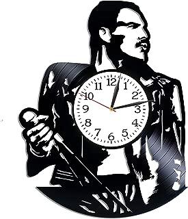 Kovides Freddie Mercury Room Art Rock Band Clock Lp Vinyl Retro Record Wall Clock Vintage Queen Gift Birthday Gift for Fan Freddie Mercury Clock Rock Music Art Xmas Gift Idea for Him