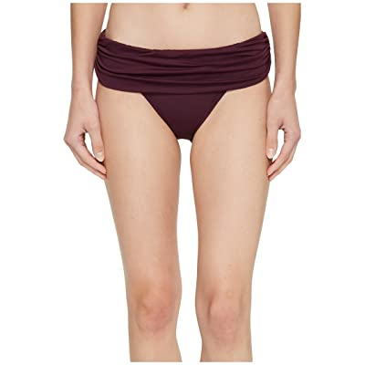 LAUREN Ralph Lauren Beach Club Solids Wide Shirred Banded Hipster Bottom (Burgundy) Women