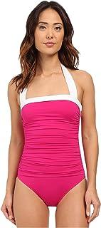 Lauren by Ralph Lauren Women's Bel Aire Shirred Bandeau Mio Slimming Fit w/Soft Cup Pink Swimsuit 12
