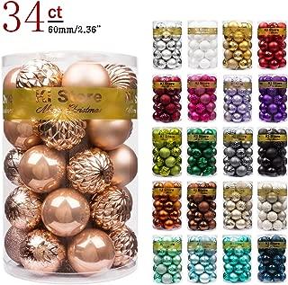 "KI Store 34ct Christmas Ball Ornaments Shatterproof Christmas Decorations Tree Balls for Holiday Wedding Party Decoration, Tree Ornaments Hooks Included 2.36"" (60mm Rose Gold)"