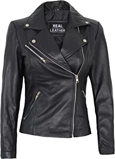Asymmetrical Womens Leather Jacket - Real Lambskin Leather Jackets for Women