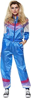 Karnival Costumes 80s Shell Suit – 1980s Women's Neon Retro Vintage Windbreaker Tracksuit, Blue