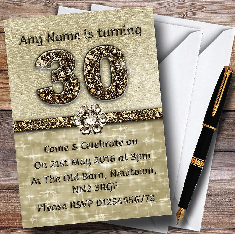 Titanium gold Sparkly 30Th Personalised Birthday Party Invitations   Invites & Envelopes