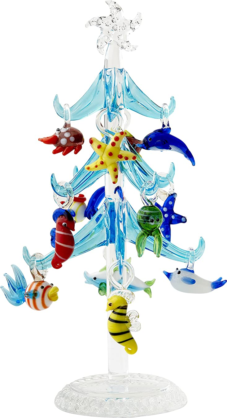 LSArts Sea Life Christmas Glass Tree - Blue - 7.75