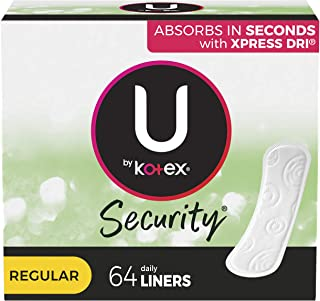 U by Kotex Lightdays Panty Liners, Regular, Unscented, 64 Count, Multicolor (thomaswi)