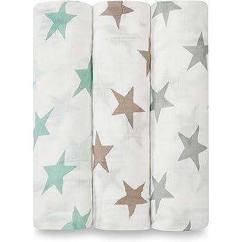 aden + anais - Lot de 3 Maxi-Langes Silky Soft, Couverture d'emmaillotage 100% Viscose de Bambou, Douce et Confortable, Adaptée pour les Nouveaux-nés, Fille et Garçon, Multicolore, 120x120 cm