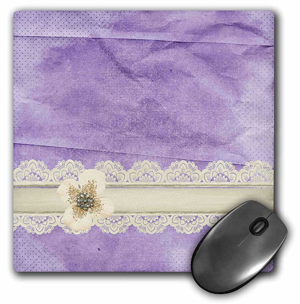 3dRose Beverly Turner Designs - Beautiful Beige Flower on Lace Ribbon, Lavender Crumbled Paper - Mousepad (mp_220590_1)