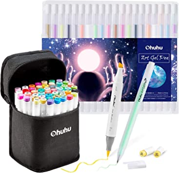 Ohuhu Marker Pen 40 Colors Oil-based Alcohol Marker with Thick Ends