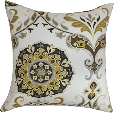 The Pillow Collection Elyes Geometric Pomegranate Down Filled Throw Pillow Home Kitchen