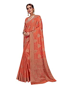 Sarees for Women Linen Silk Woven Saree || Indian Wedding Gift Sari with Unstitched Blouse