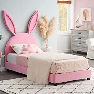 VECELO Children Upholstered Bed Frame Twin Size Mattress Foundation with Rabbit Ear for Kids Girls, Full Wooden Slats Supports, No Box Spring Needed, Pink