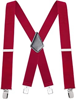 "Buyless Fashion 48"" Men's Heavy Duty 2"" Wide Elastic Adjustable X Back Suspender"