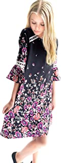 Smukke, Big Girls Floral Printed Dress with Lace Trim or Tiered Ruffles (Many Options) 7-16