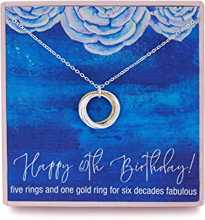 RareLove 21st Birthday Gift For Women 925 Sterling Silver 2 Circle Rings and 1 Faux Pearl Pendant Necklace for Her Daughter Chain Adjust from 17 to 19 Extender