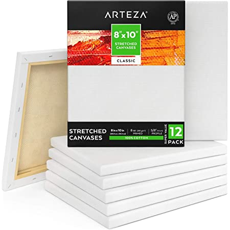 Arteza 8x10 Inch Stretched Canvas, Classic Pack of 12, Primed, 100% Cotton, Art Supplies for Painting, Acrylic Pouring, Oil Paint & Wet Art Media, Canvases for Artist, Hobby Painters & Beginner