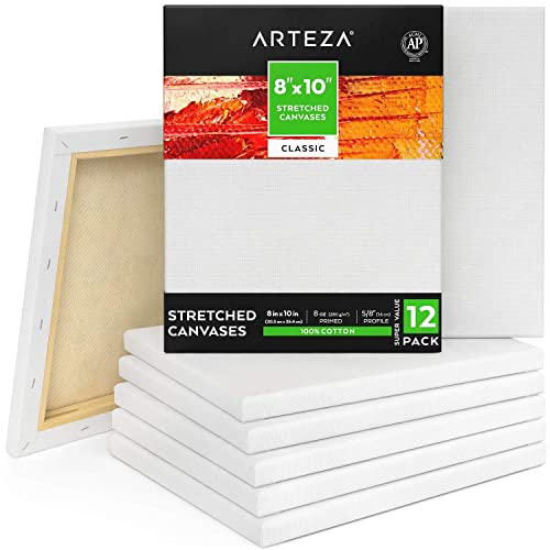 """100/% Cotton for Painting Oil Paint /& Wet Art Media Bulk Pack of 8 Acrylic Pouring Hobby Painters /& Beginner Canvases for Artist ARTEZA 11x14/"""" Professional Stretched White Blank Canvas Primed"""