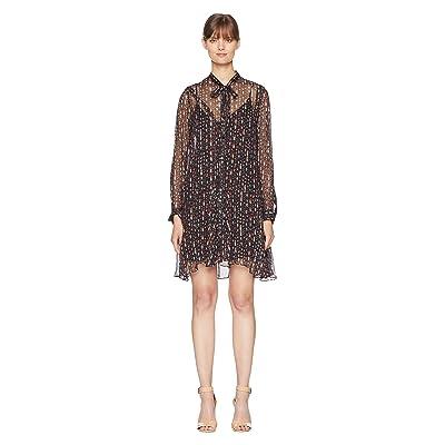 The Kooples Long Sleeve Button Up Dress with a Silk Muslin Ascot (Black) Women