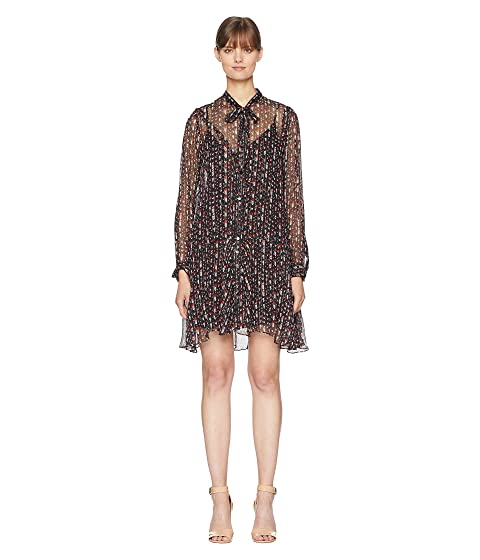 The Kooples Long Sleeve Button Up Dress with a Silk Muslin Ascot