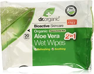 DR ORGANIC Wipes Organic Aloe Vera, 20 Wipes