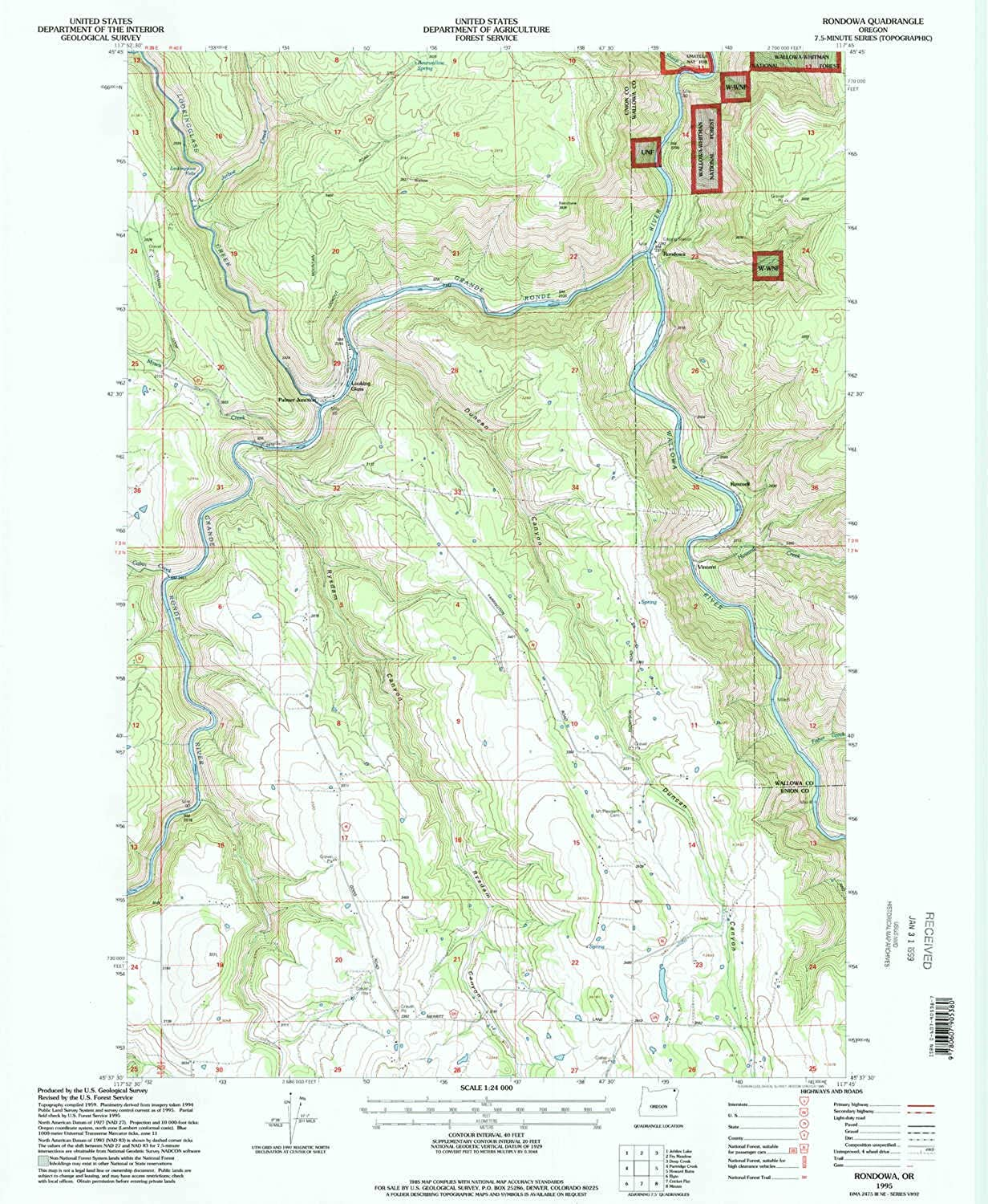 Rondowa OR topo map, 1 24000 Scale, 7.5 X 7.5 Minute, Historical, 1995, Updated 1998, 26.8 x 22 in