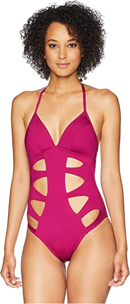 Hall of Fame Push-Up Mio with Cut Out Detail One-Piece Swimsuit