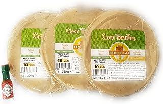 Paquete de 3 tortillas de maíz sin gluten (15 cm) en una bolsa con cierre de cremallera (3 x 10 piezas) y 1 mini Tabasco (3.7 ml)