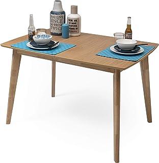 Homely - Mesa de Comedor-Cocina Extensible de diseño nórdico de 120/160x80 cm MELAKA Roble