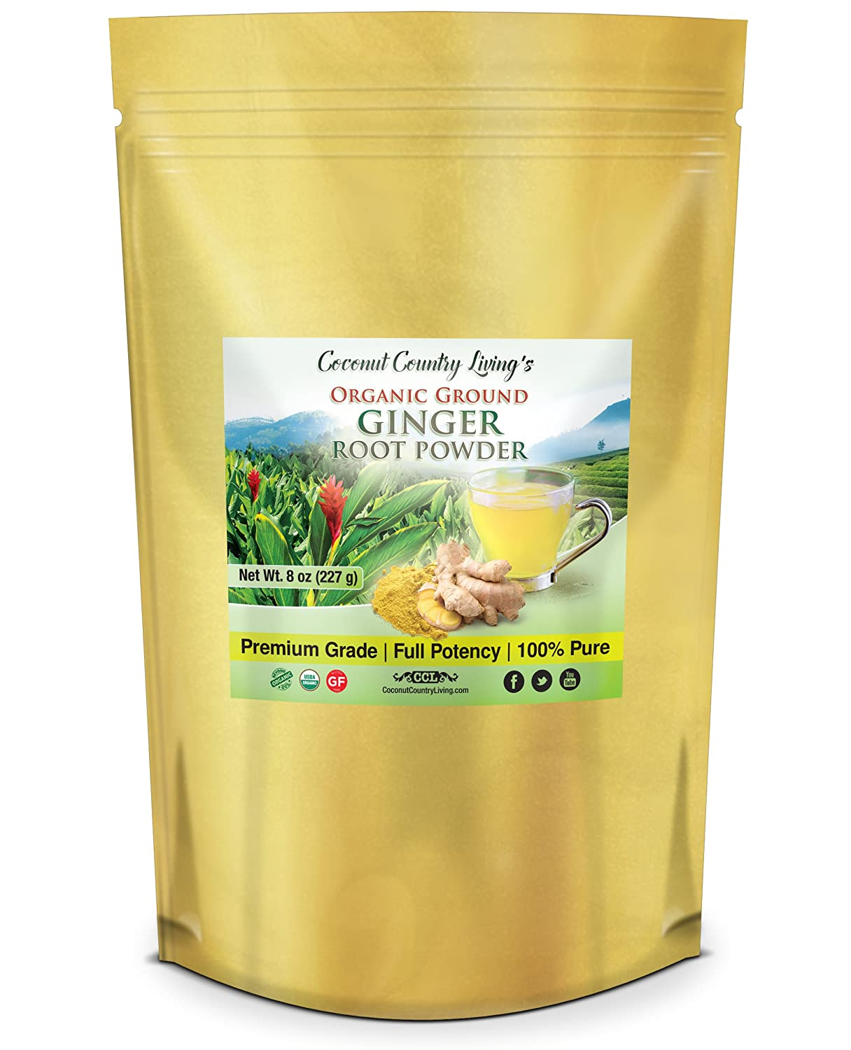 Organic Ginger Root Powder (8 oz), Aromatic, Freshly Harvested Raw Spice for Health, Tea, Baking, Beauty, Cooking, Gluten free & Healing Spice, Zingiber Officinale Powder